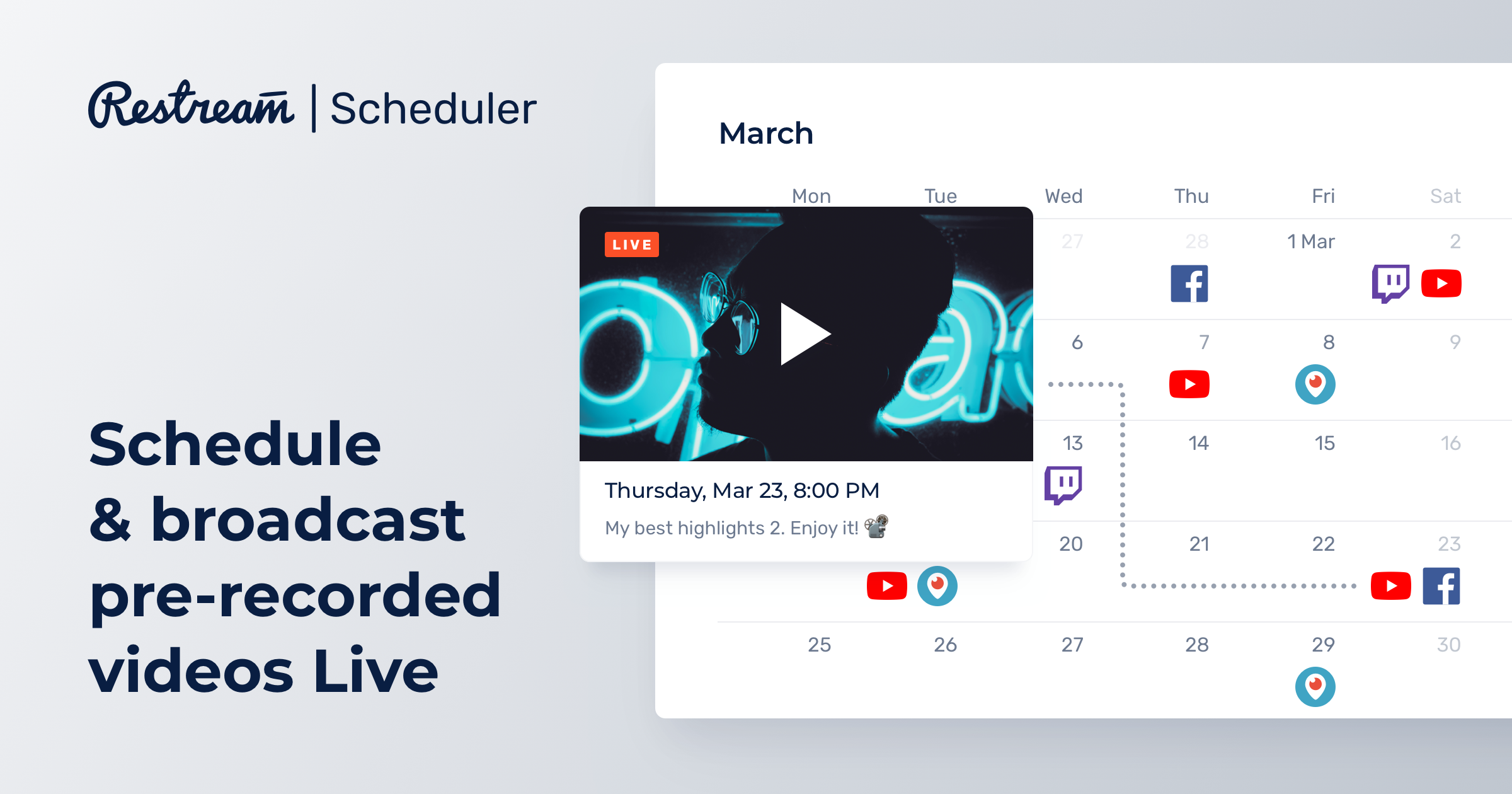 Schedule and broadcast pre-recorded videos live – Restream
